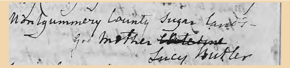 Detail of baptismal record