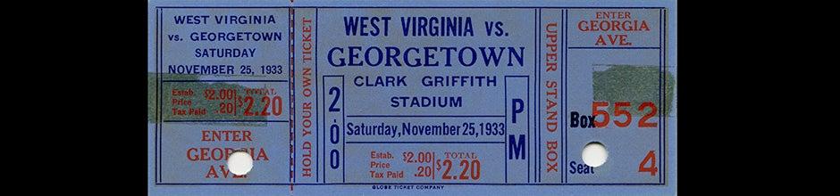 ticket to West Virginia vs. Georgetown football game, 1933