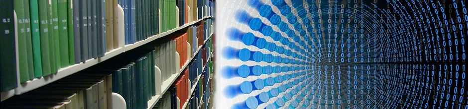 Mashup of journals on shelf and futuristic binary bits