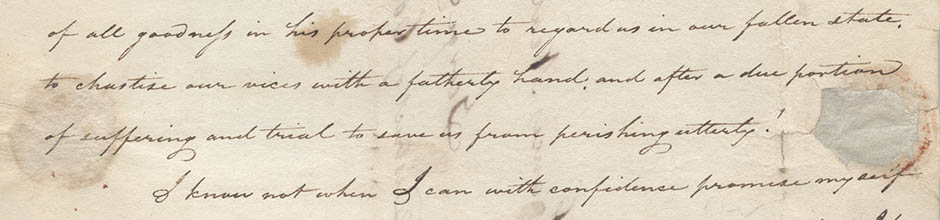 excerpt from a handwritten letter by William Gaston