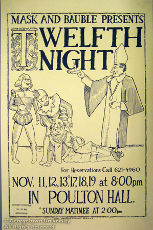 Mask and Bauble flyer for Twelfth Night